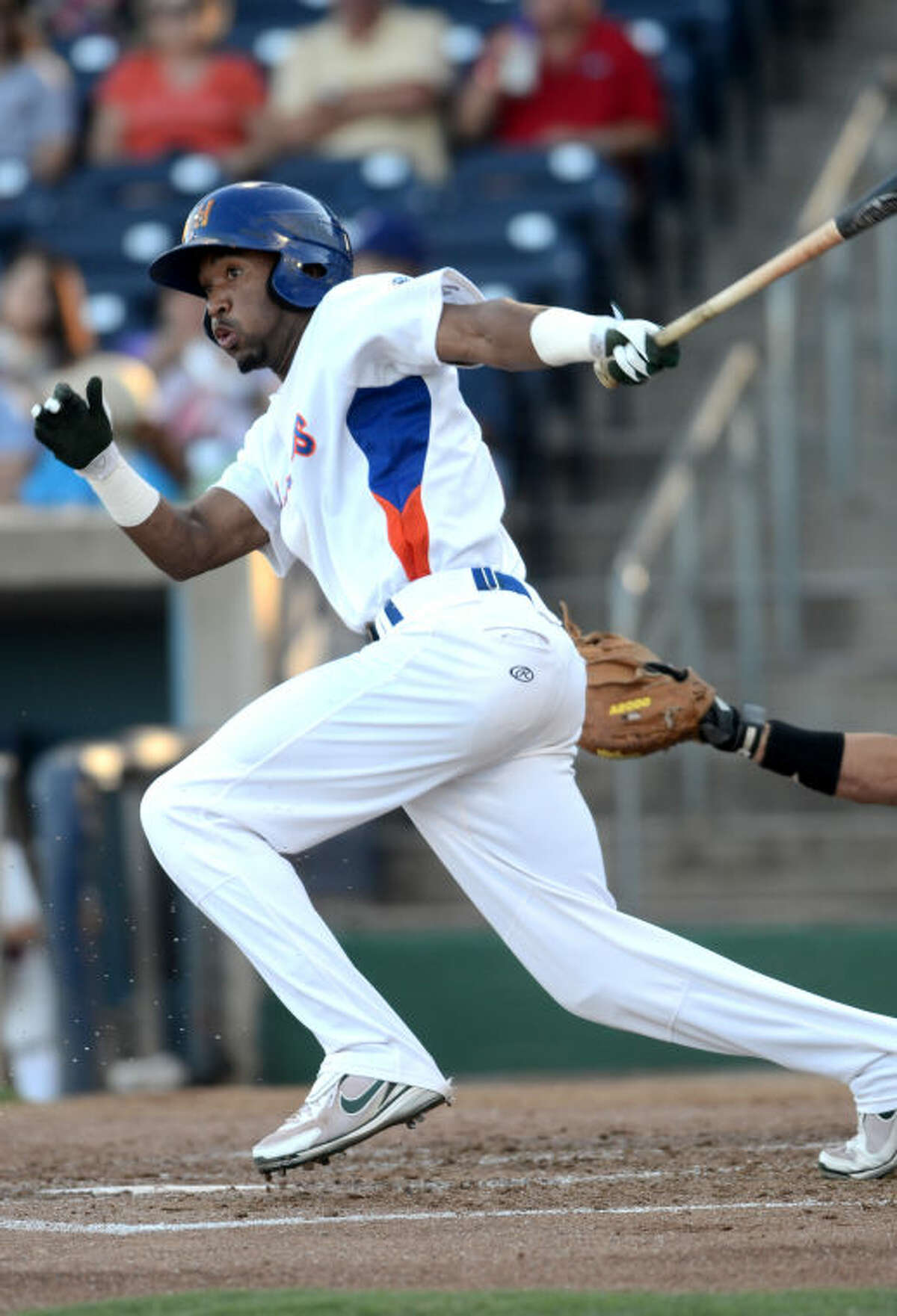 Rockhounds' D'Arby Myers puts the ball in play against the Tulsa Drillers Wednesday at Citibank Ballpark. James Durbin/Reporter-Telegram