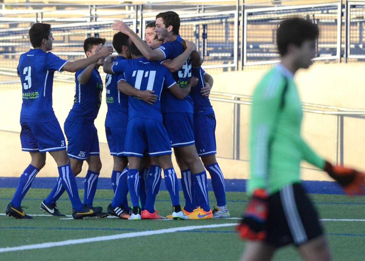 Sockers celebrate a goal during the first half of play against the Tulsa Athletics on Wednesday, May 13, 2015 at Grande Communications Stadium.James Durbin/Reporter-Telegram