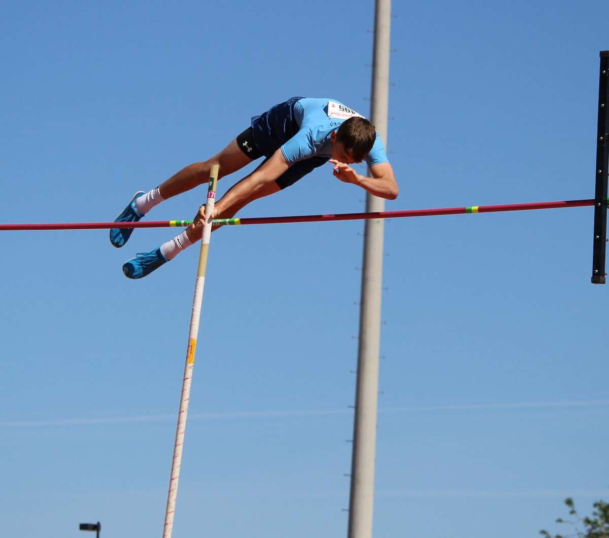 Greenwood's Hunter Wigington is shown here competing in the pole vault during the Region I-4A Track & Field Championships at Texas Tech University on May 1. Photo by James Vint.