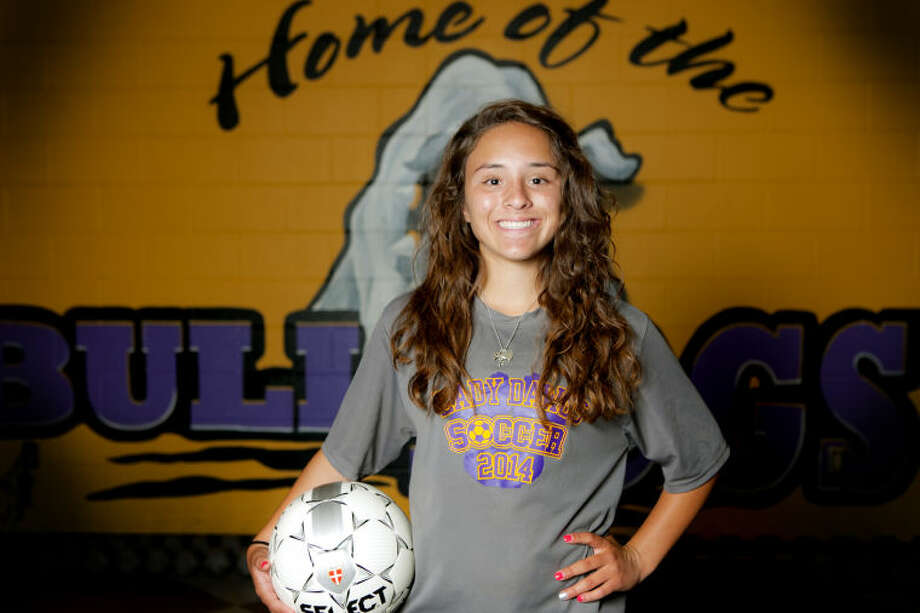 Midland High soccer midfielder Adrienne Almodova poses for a portrait on Tuesday in the field house at Audrey Gill Sports Complex. James Durbin/Reporter-Telegram Photo: JAMES DURBIN