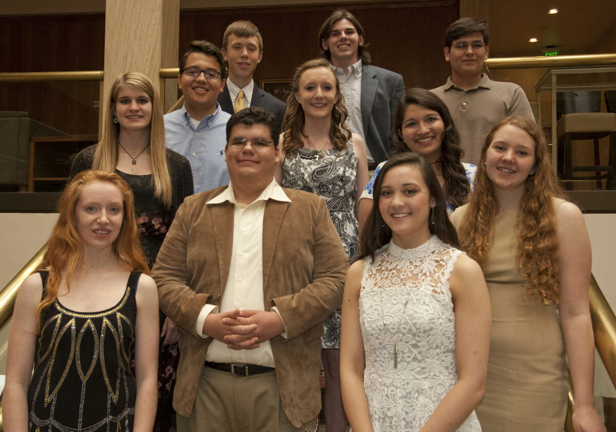 Lee High, Midland High and ECHS students are honored Monday, 4-27-15, by the Midland Exchange Club for their outstanding high school career. Students honored include from MHS; Ariel Sanchez in English, Kristen Dunlap in foreign language, Jake Pannell in math, Claire Altany in science and Park Gibbs in social studies. LHS students honored include Kristen York for English, Mario Goni inb foreign language, Sarah Jones in math, Kalen Doubrava in science and Keely Martin in social studies. ECHS student Joseph Hernandez was honored for his activities and awards. Tim Fischer\Reporter-Telegram