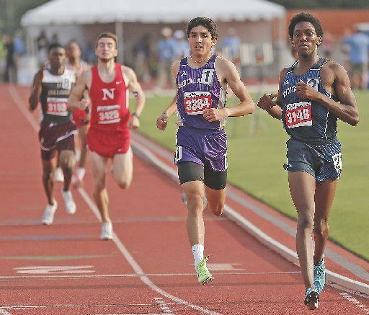 Midland High's Bryce Hoppel runs to a second place finish in the Class 6A 800 meter run, Saturday at the UIL State Track and Field Championships at Mike A. Myers Stadium.