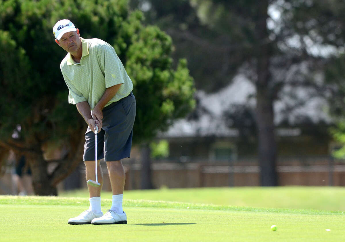 Rick Houston putts during the Stampede golf tournament on Saturday, May 16, 2015 at Ranchland Hills Golf Club. James Durbin/Reporter-Telegram
