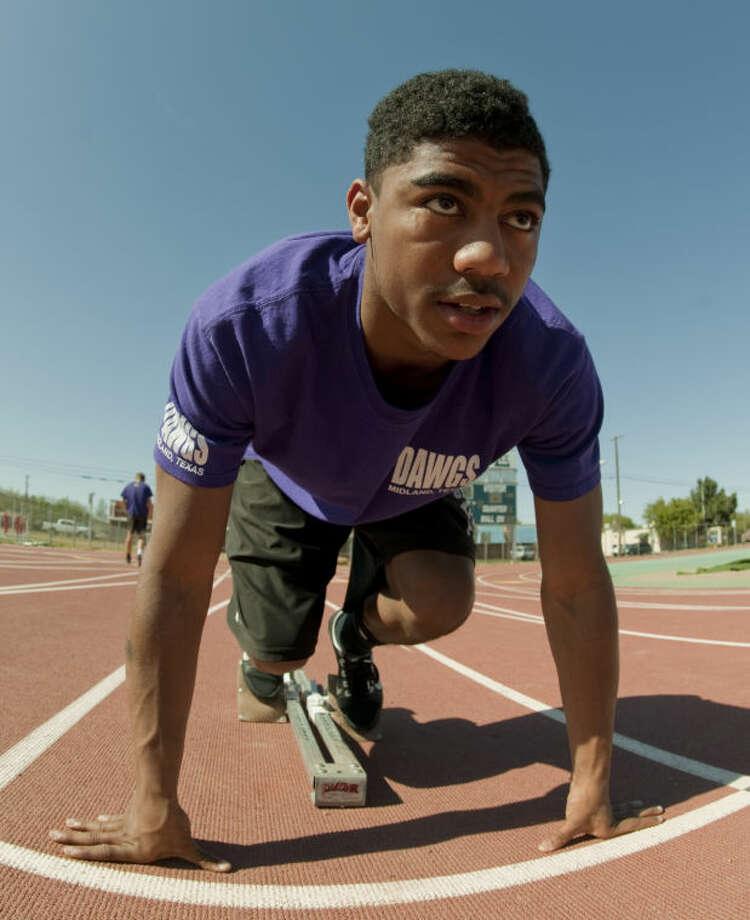 DeAndre Goodley, MHS sprinter. Tim Fischer\Reporter-Telegram Photo: Tim Fischer