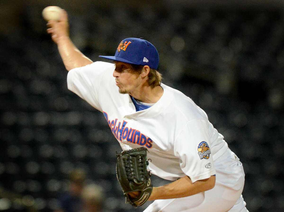 Rockhounds pitcher Ryan Dull closes out the game for a win against Tulsa on Tuesday, May 26, 2015 at Security Bank Ballpark. James Durbin/Reporter-Telegram