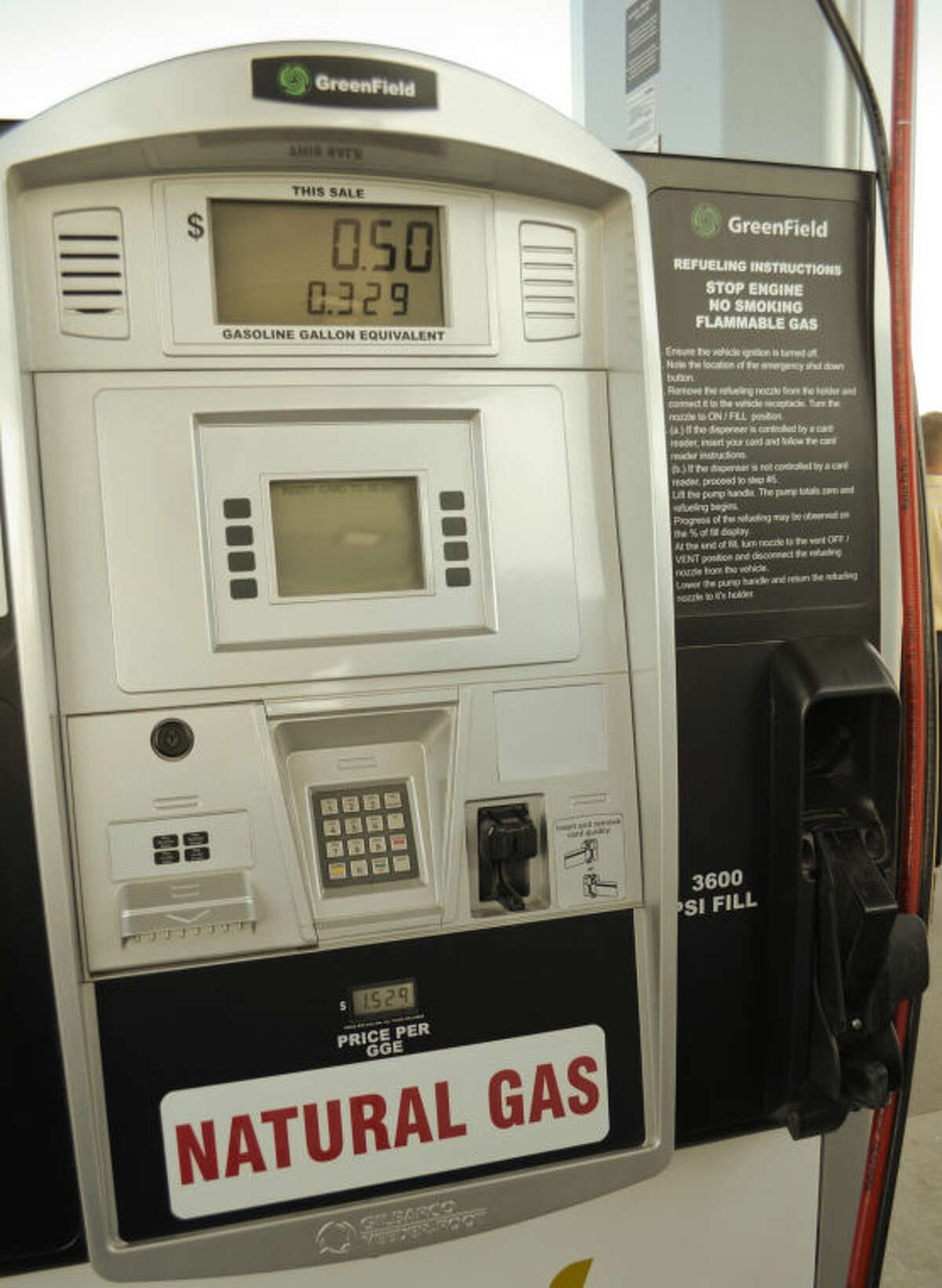 CNG fueling pump available to the public at two Stripes Convenience Stores in Midland, one at 3200 E. Highway 158 and the other at Big Spring and Loop 250. Tim Fischer\Reporter-Telegram