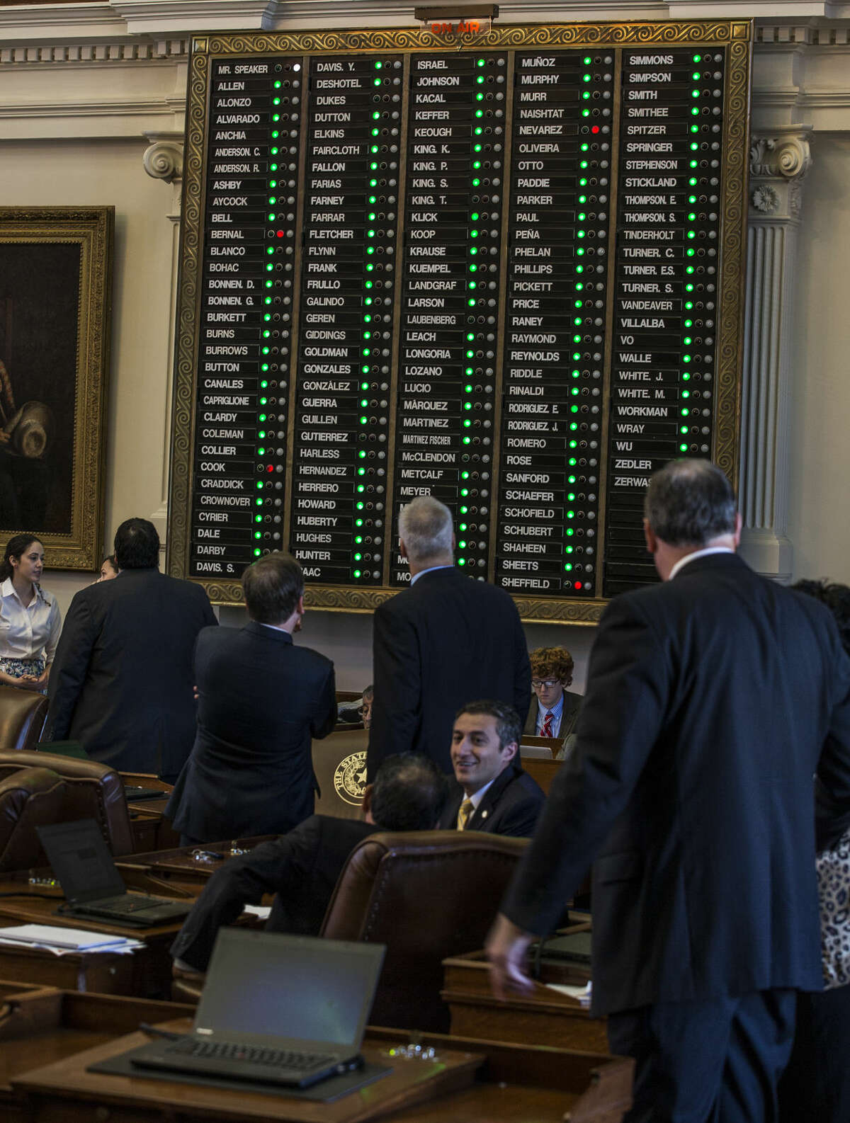 Texas House of Representatives members watch the voting board as votes is counted on a bill, a statewide ban on texting while driving, on Wednesday, March 25, 2015, in Austin, Texas. (AP Photo/Austin American-Statesman, Ricardo B. Brazziell) The bill overwhelmingly passed the Texas House, but it died in the Texas Senate before it could be brought to a floor vote. Midland City Council Members Scott Dufford and J. Ross Lacy hope to have better luck with an ordinance banning texting while driving in Midland.