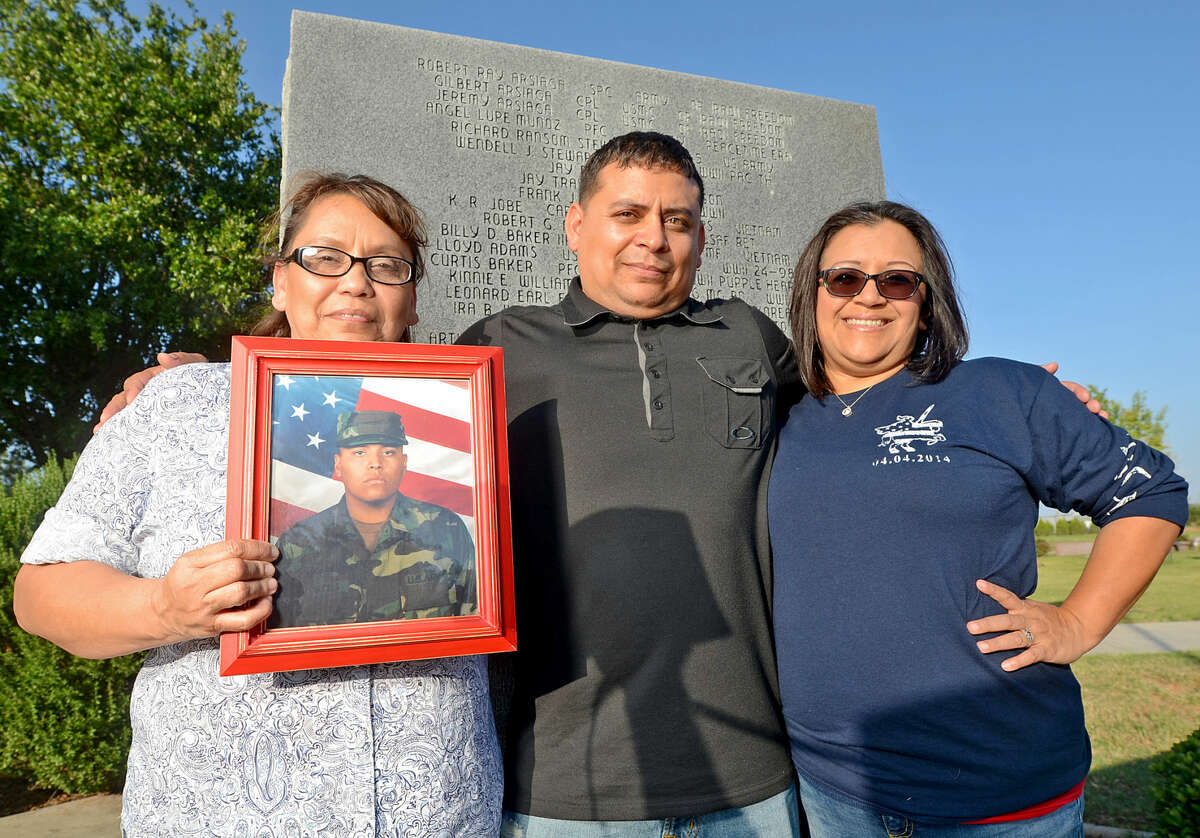 Army veteran Angel Munoz wrote a blog that was selected to be featured on the Army morale, welfare and recreation website for Memorial Day. Angel's three younger brothers also served in the military - two Marines, one Army - and one of them (SPC Robert R. Arsiaga) died while serving in Iraq in 2004. Munoz says that an anonymous veteran paid to have her and all three of her brother's names put on the memorial wall at Resthaven Memorial Park James Durbin/Reporter-Telegram