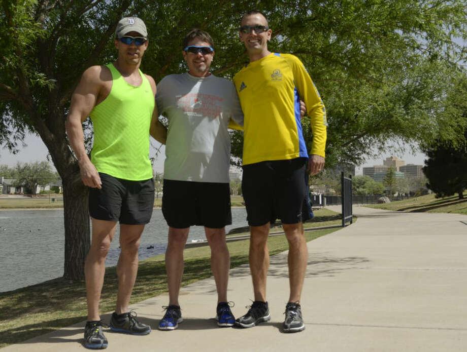 Friends Steve Berrones, Kyle Beran and Kevin Fox will be traveling to Boston to run the Boston Marathon this year. Tim Fischer\Reporter-Telegram Photo: Tim Fischer