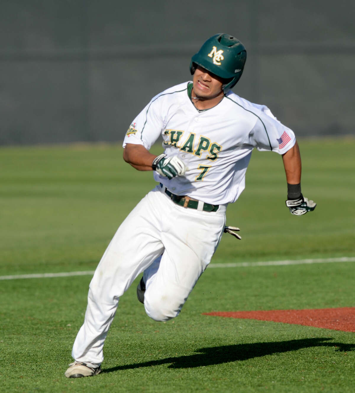 Midland College's Josh Narvaiz runs the bases after hitting against New Mexico Military Institute on Friday, April 24, 2015, at Christensen Stadium. James Durbin/Reporter-Telegram