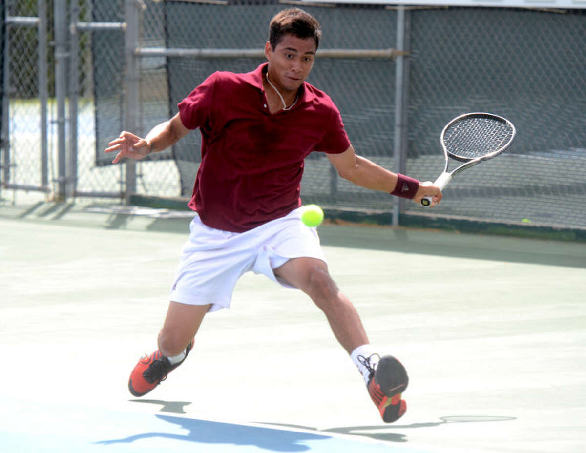 Junior Ore competes in a match Saturday at the Midland Racquet Club. James Durbin/Reporter-Telegram