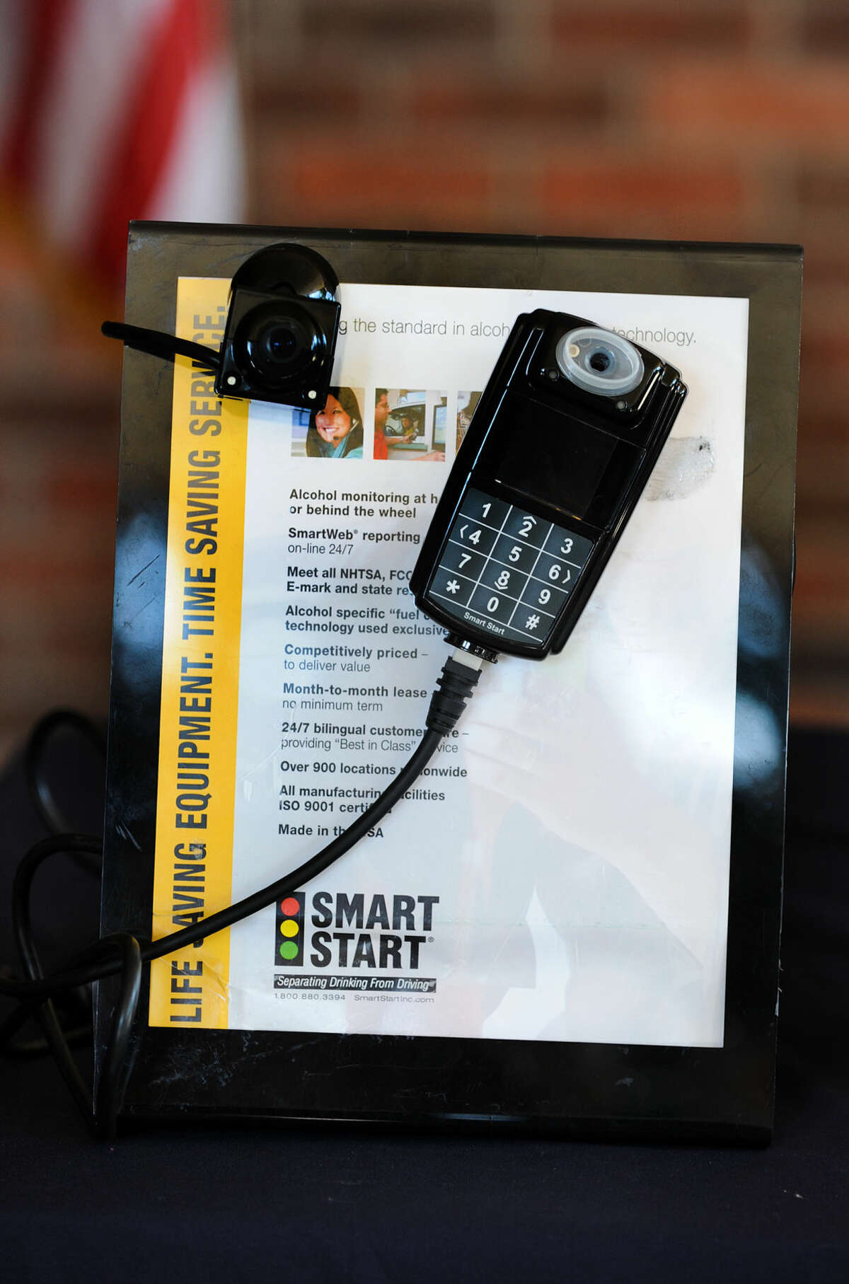 An Ignition Interlock Device that was on display at the ceremony to commemorate the new state law strengthening the state's ignition interlock requirements for driving under the influence (DUI) held at the Fairfield Police Department in Fairfield, Conn. on Monday, Aug. 11, 2014.