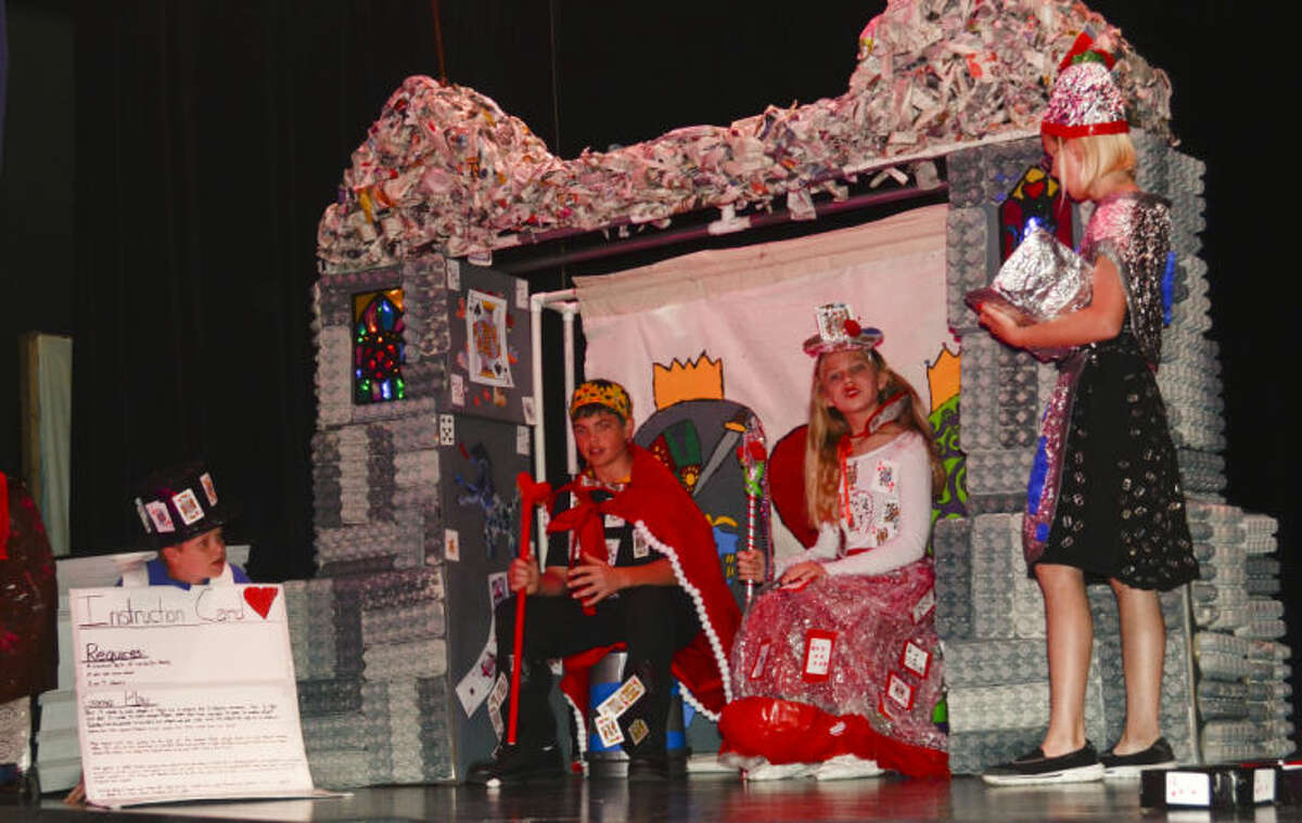 Carver Center students rehearse their Destination Imagination skit and task Monday morning in front of other students at Carver Center. Tim Fischer\Reporter-Telegram