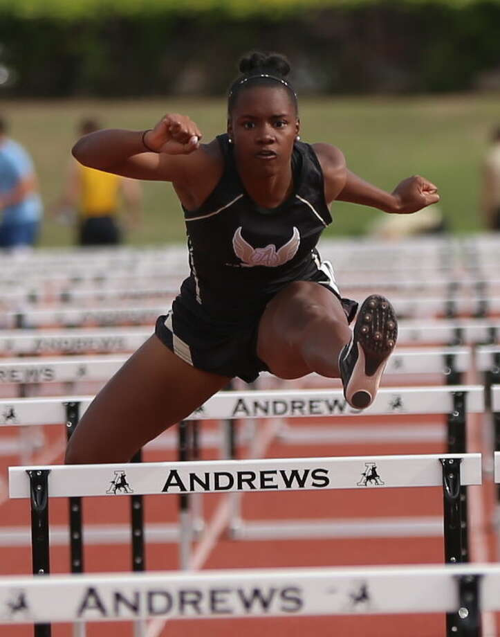 Andrews senior Oceana Ridge is shown here competing during the 300 hurdles event at District 4-4A meet in Andrews last month. Ridge has qualified for state in the 100 hurdles, 300 hurdles and the long jump. Photo by Tammy Darland