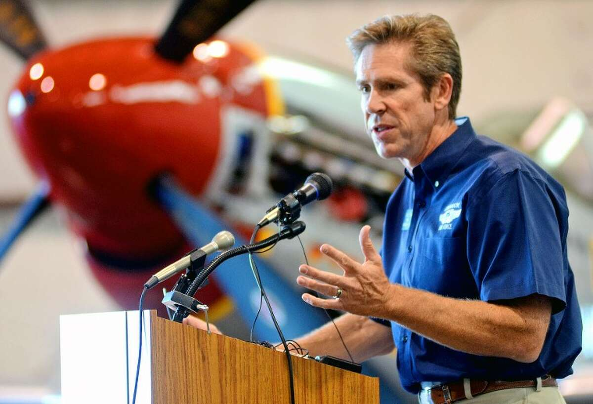 (File Photo) Stephan Brown, President of the Commemorative Air Force, highlights the events planned for AirSho 2012 at a press conference Wednesday at the CAF. James Durbin/Reporter-Telegram