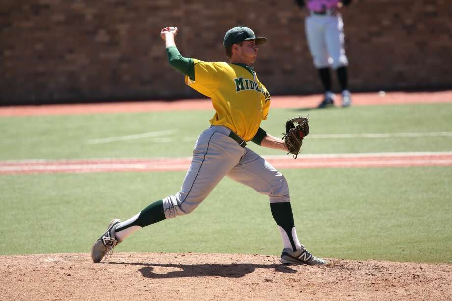 Midland College freshman pitcher Shane Browning throws a pitch against Howard College during an elimination game of the NJCAA Region V Tournament at Rip Griffin Park. Forrest Allen/MC Athletics