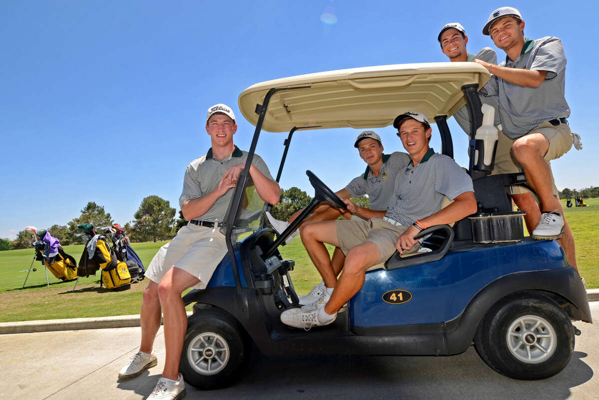 Midland College golf team members from left, Dominick Haskins, David Wicks, Xander Basson, Blake Roberson, and Jas Bowling are all headed to the national tournament. Photographed Friday, May 8, 2015 at Midland Country Club. James Durbin/Reporter-Telegram