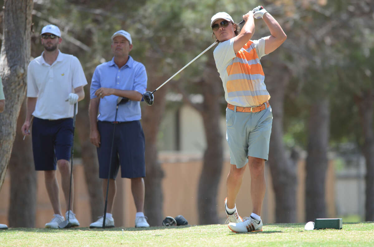 Shawn Savage tees off during the Stampede Golf Tournament on Friday, May 15, 2015, at Ranchland Hills Golf Club. James Durbin/Reporter-Telegram