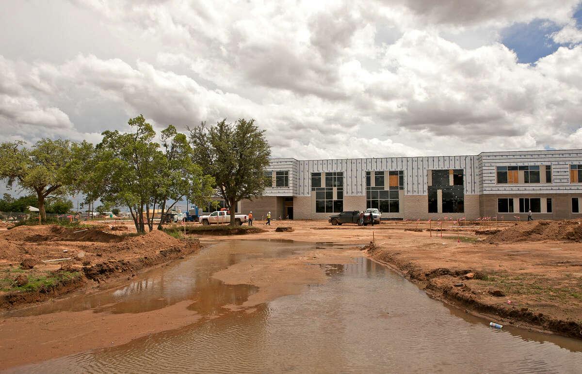 Construction continues at Bunche Elementary School despite recent rainfall, Wednesday, May 13, 2015. James Durbin/Reporter-Telegram