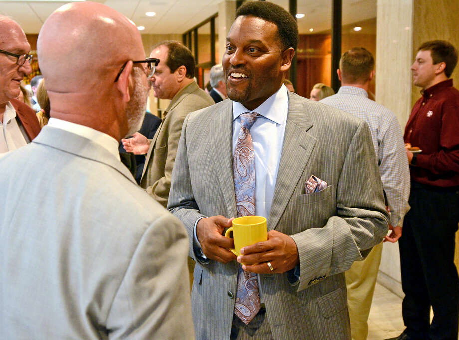 Texas A&M head football Kevin Sumlin speaks with supporters Wednesday, May 20, 2015, at the Petroleum Club. James Durbin/Reporter-Telegram Photo: James Durbin