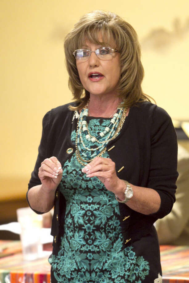 Kathy Reeves, running for County Judge, speaks during a candidate forum Feb. 11 at Javi's Mexican Restaurant. James Durbin/Reporter-Telegram Photo: JAMES DURBIN