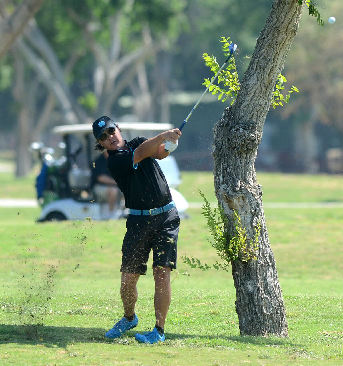 Shawn Savage approaches the green during the Stampede golf tournament on Saturday, May 16, 2015 at Ranchland Hills Golf Club. James Durbin/Reporter-Telegram