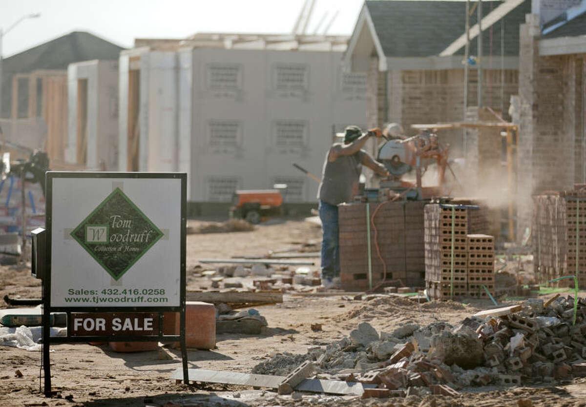 New homes under construction in the Grasslands neighborhood photographed Feb. 27, 2014. James Durbin/Reporter-Telegram