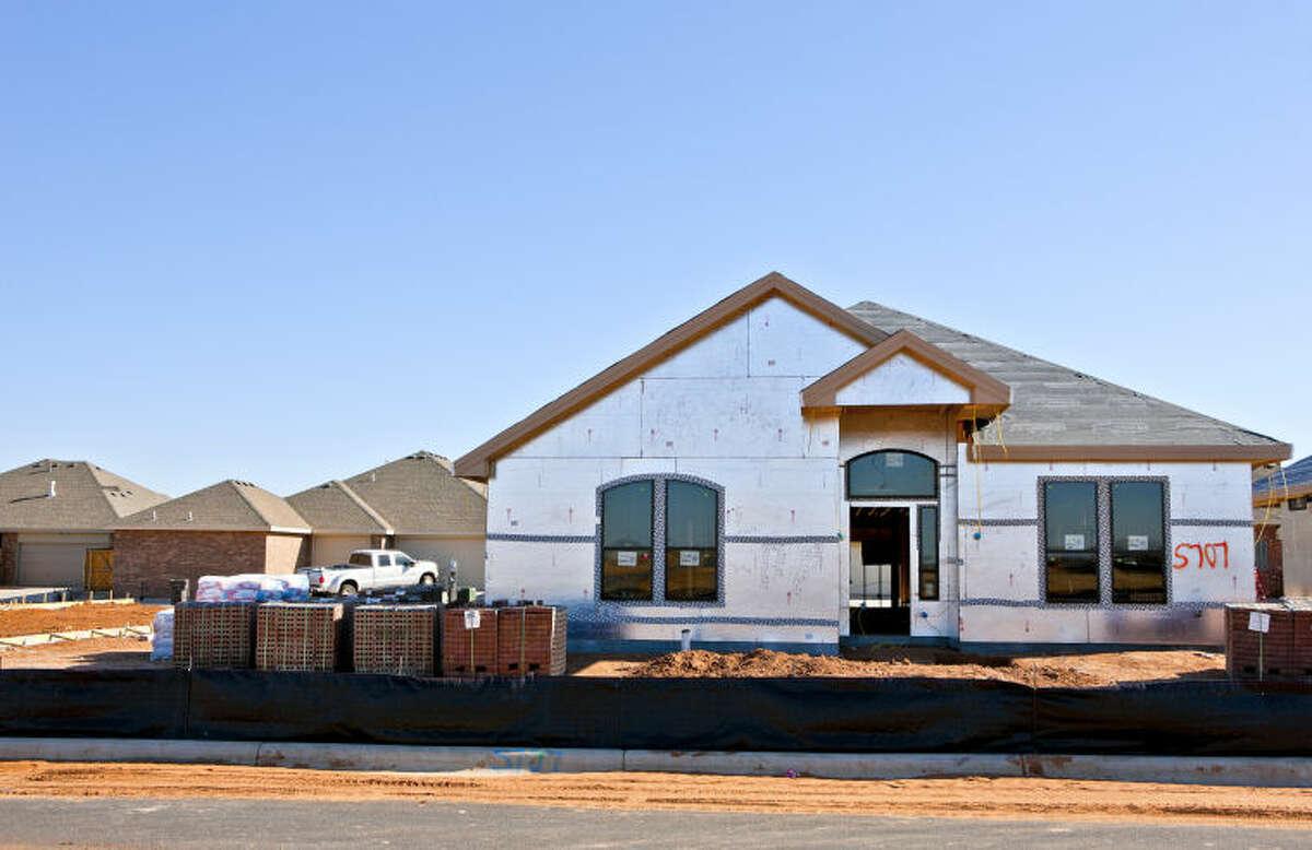 New home under construction in the Grasslands neighborhood photographed Feb. 27, 2014. James Durbin/Reporter-Telegram