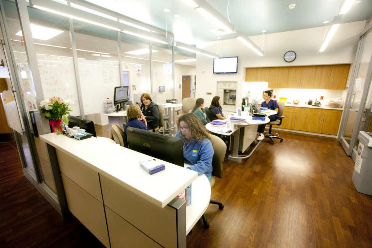 Nurse station inside Midland Memorial Hospital, Feb. 17, 2014. James Durbin/Reporter-Telegram
