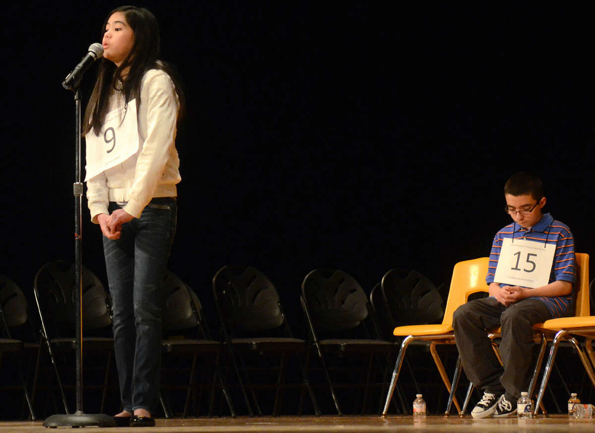 Anna Ngo of Carver competes in the Midland Reporter-Telegram regional spelling bee on March 21. She is onstage Wednesday at the Scripps National Spelling Bee in Washington, D.C.