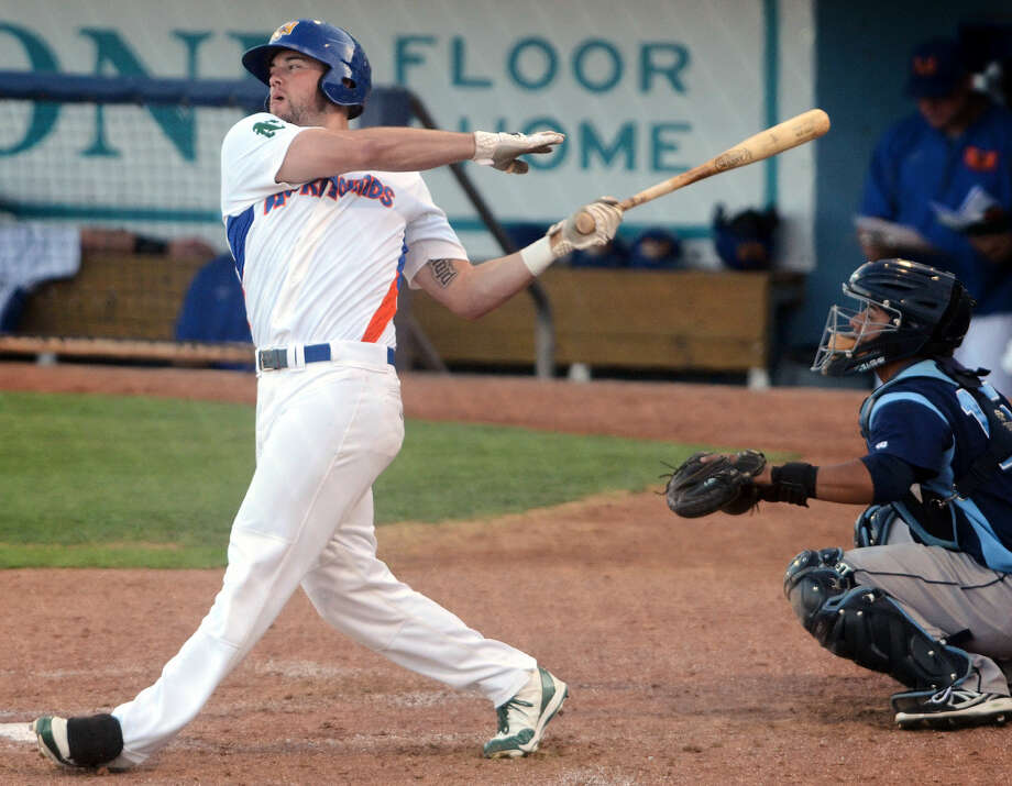 FILE PHOTO: Rockhounds' Josh Whitaker hits a home run against Corpus Christi, June 3, 2014, at Security Bank Ballpark. James Durbin/Reporter-Telegram Photo: James Durbin