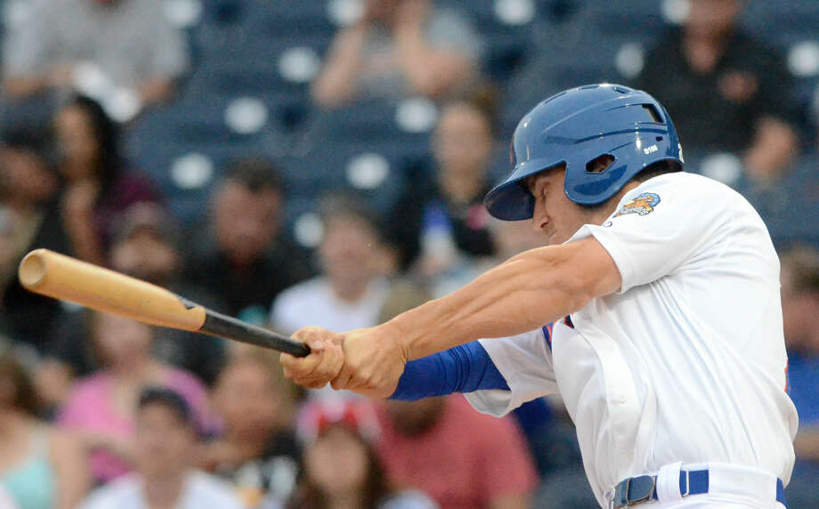 Rockhounds' Carson Blair hits against Northwest Arkansas during the season opener Thursday, April 9, 2015 at Security Bank Ballpark. James Durbin/Reporter-Telegram Photo: James Durbin