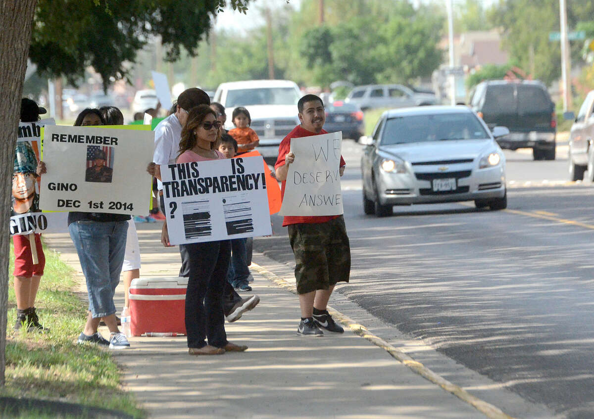 Protesters gather outside the Midland County Courthouse on Wednesday, May 27, 2015. James Durbin/Reporter-Telegram