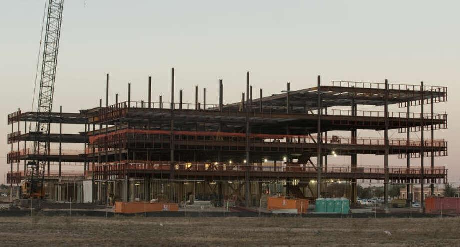 Construction continues on the Pioneer building off Big Spring in the Clay Desta complex. Tim Fischer\Reporter-Telegram Photo: Tim Fischer