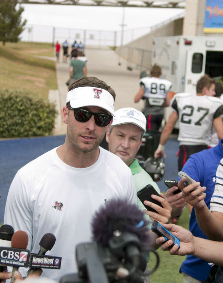 Texas Tech football head coach Kliff Kingsbury talks to the media after the Texas Tech spring football practice Saturday at Grande Communications Stadium. James Durbin/Reporter-Telegram Photo: JAMES DURBIN