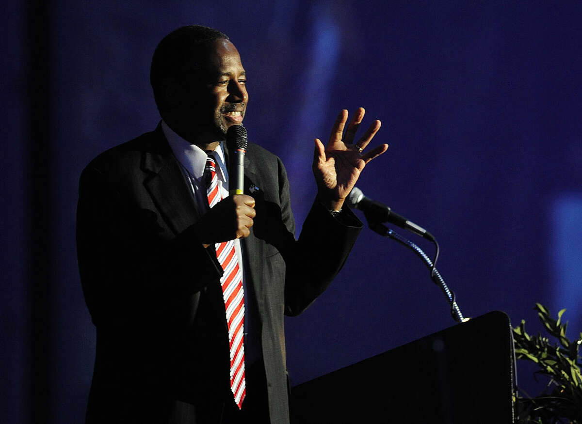 Republican presidential candidate Dr. Ben Carson speaks during the anniversary celebration banquet of the Abilene Meals on Wheels on Thursday, May 28, 2015, in Abilene, Texas. (Tommy Metthe/The Abilene Reporter-News via AP)