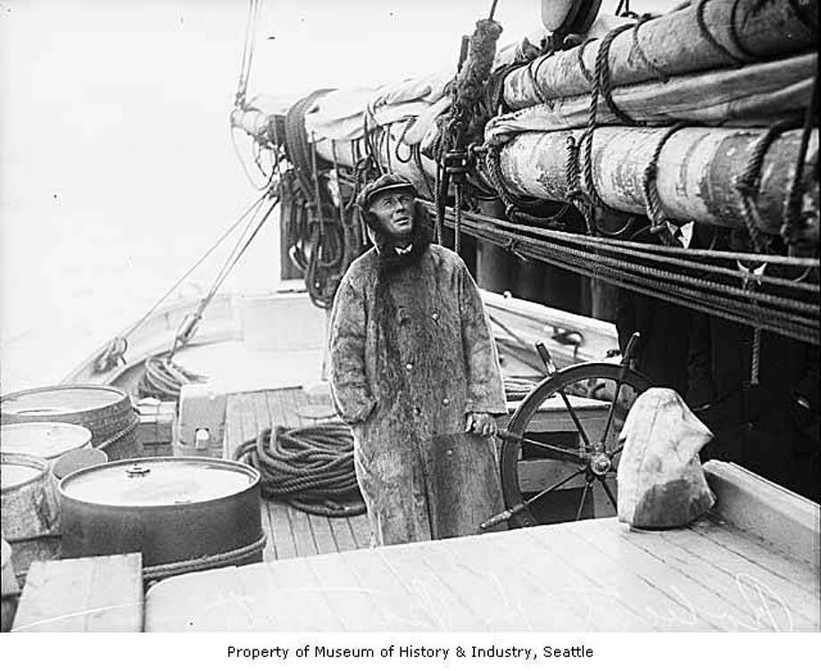 """One of Canada's seafaring heroes, Captain Robert H. 'Bob' Bartlett conducted more than 40 voyages in the far North and sailed over 200,000 miles in Arctic waters. Bartlett navigated the ship 'Roosevelt' around 133 miles of the pole to participate in Peary's successful attempt to reach the North Pole. Crucial to many arctic endeavors, Bartlett is well-known for his rescue undertakings when the 'Karluk' was crushed in the Arctic ice in 1913. This 1928 photograph of Bartlett on the deck of a ship is from later in his legendary career, (likely in Seattle)."" -MOHAI. Photo courtesy MOHAI, Seattle Post-Intelligencer Collection, image number 1986.5G.72. Photo: Courtesy MOHAI"