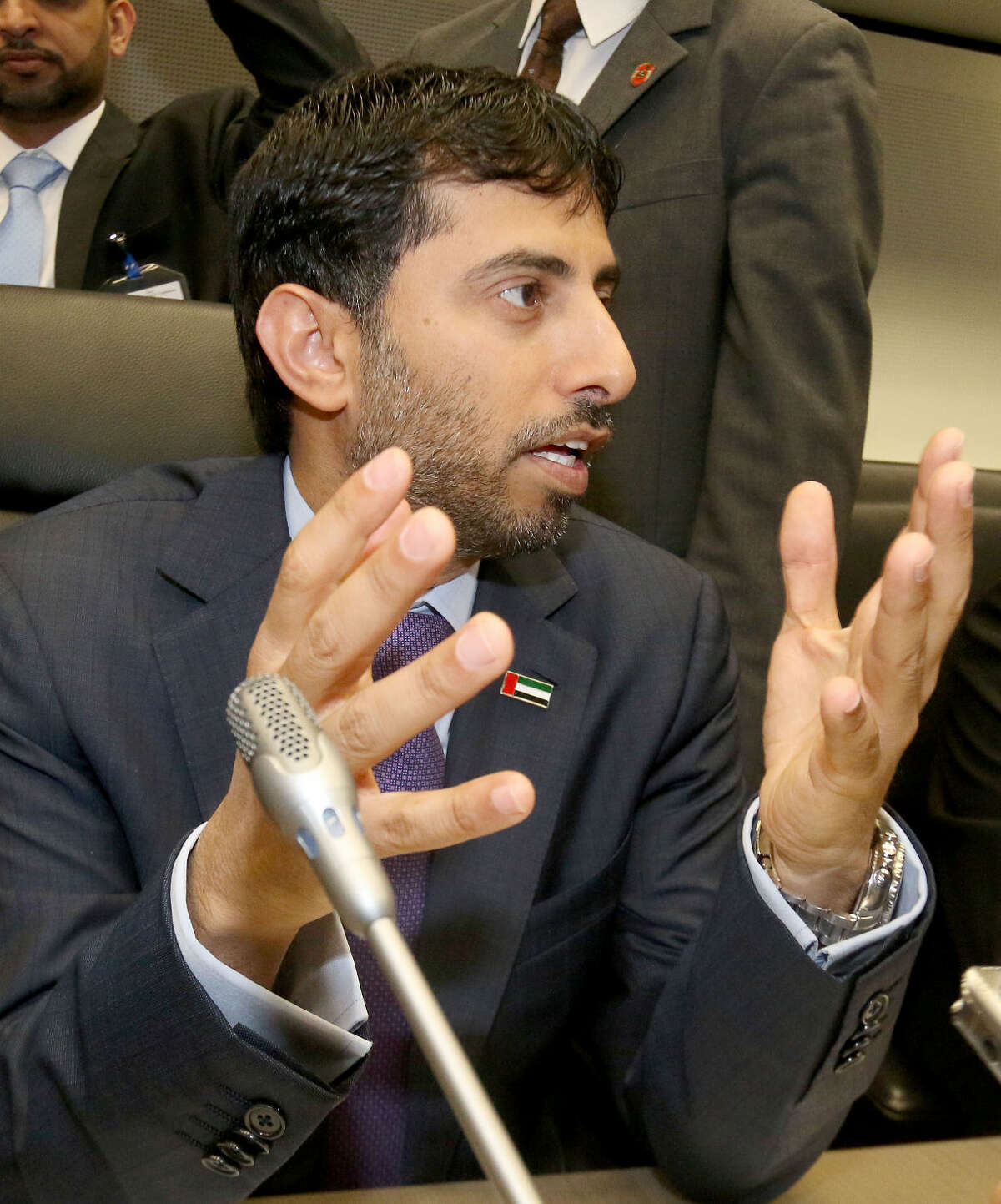 Suhail Mohamed Al Mazrouei, Minister of Energy of the United Arab Emirates, UAE, speaks to journalists prior to the start of a meeting of the Organization of the Petroleum Exporting Countries, OPEC, at their headquarters in Vienna, Austria, Friday, June 5, 2015. (AP Photo/Ronald Zak)