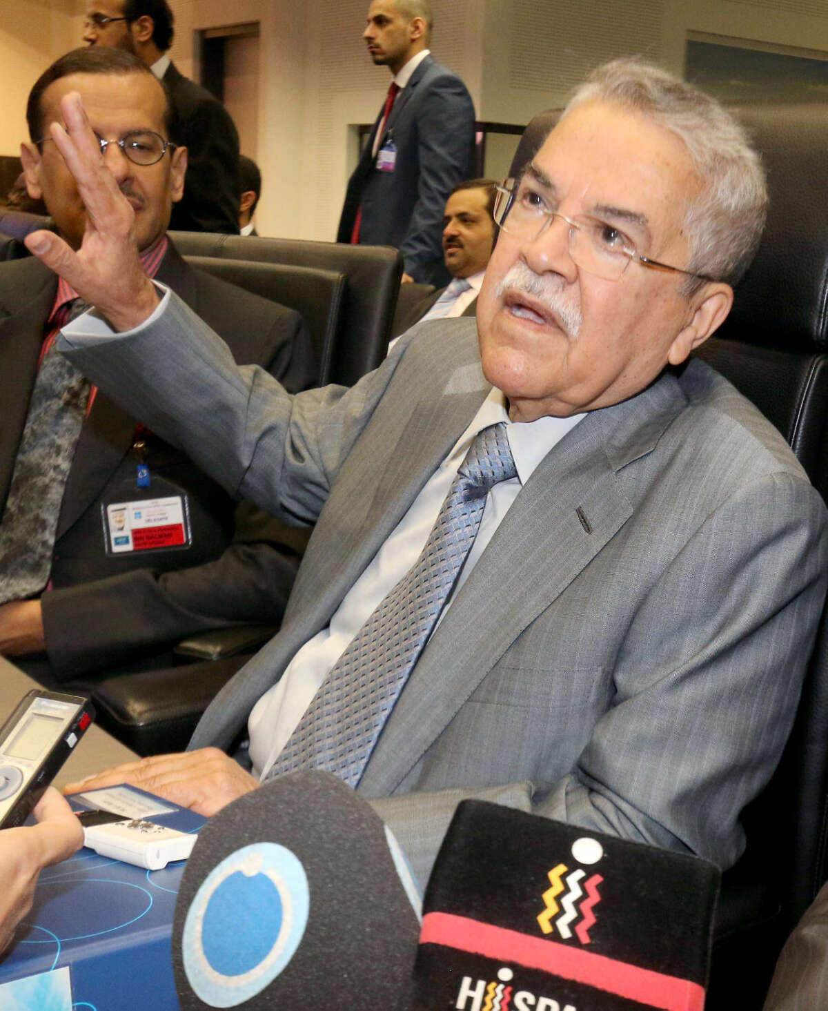 Saudi Arabia's Minister of Petroleum and Mineral Resources Ali Ibrahim Naimi speaks to journalists prior to the start of a meeting of the Organization of the Petroleum Exporting Countries, OPEC, at their headquarters in Vienna, Austria, Friday, June 5, 2015. (AP Photo/Ronald Zak)