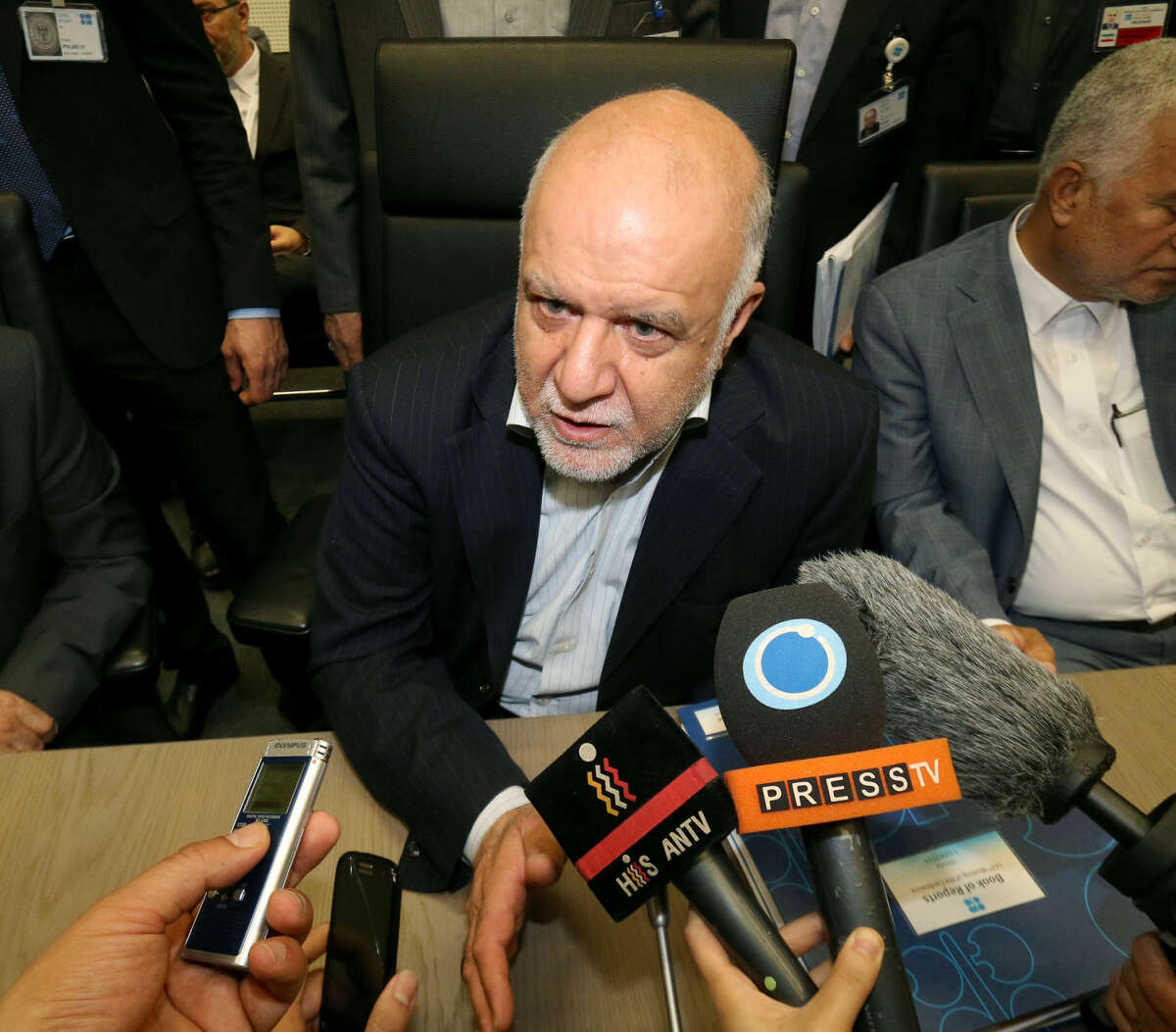 Iran's Minister of Petroleum Bijan Namdar Zangeneh speaks to journalists prior to the start of a meeting of the Organization of the Petroleum Exporting Countries, OPEC, at their headquarters in Vienna, Austria, Friday, June 5, 2015. (AP Photo/Ronald Zak)
