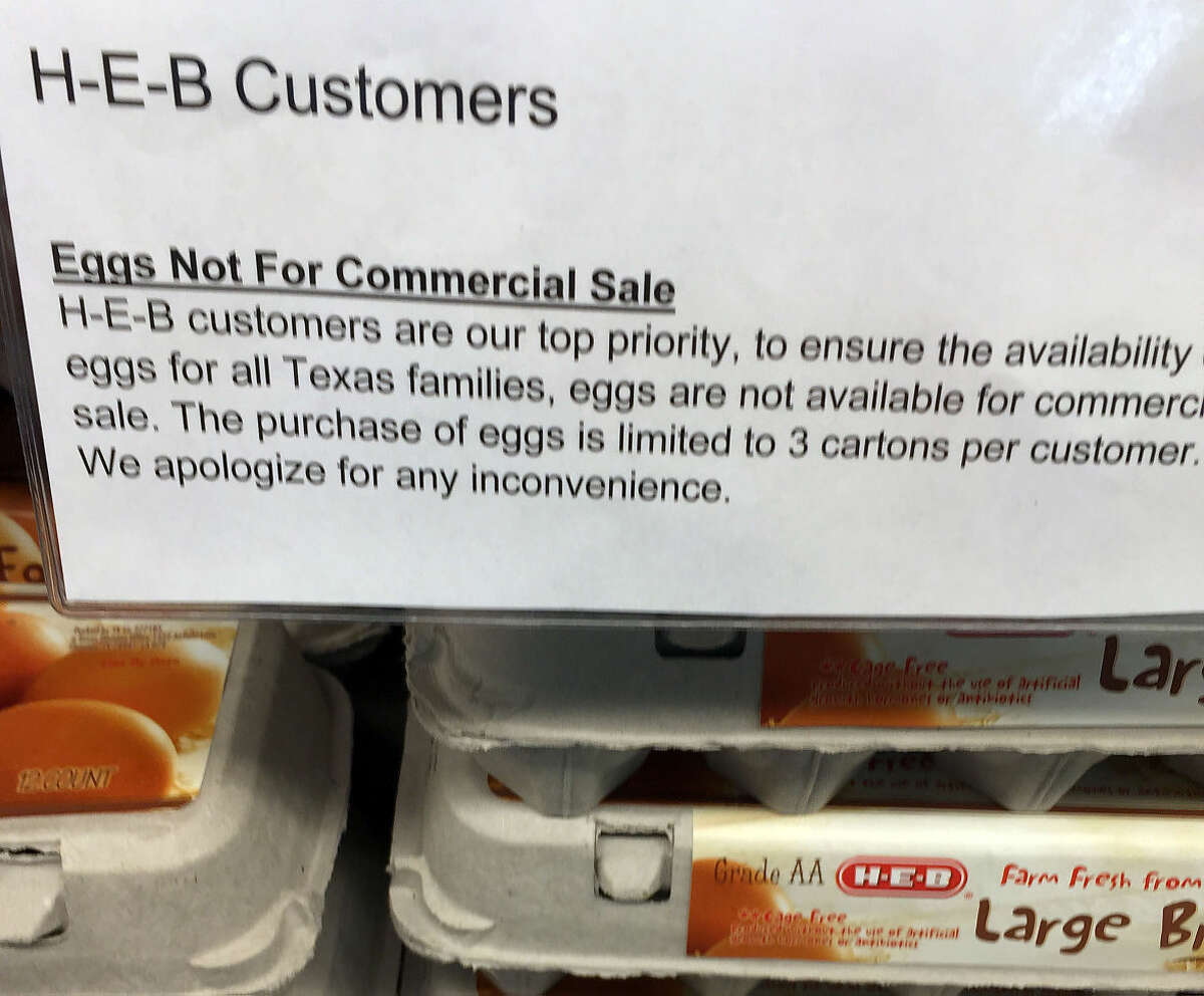 H-E-B on Wadley Avenue has a sign indicating a limited supply of eggs.