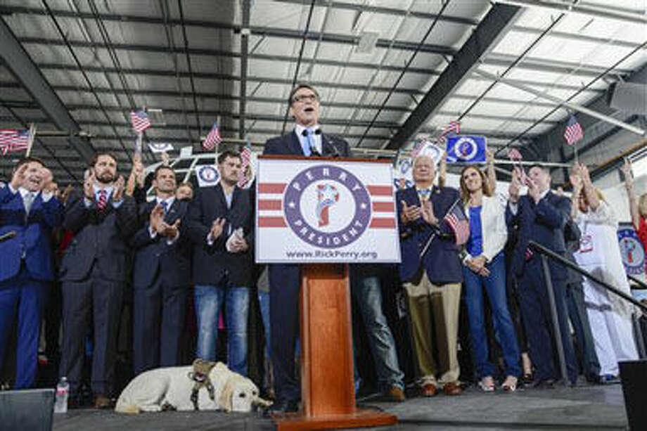"Former Texas Gov. Rick Perry speaks to supporters after announcing the launch of his presidential campaign for the 2016 elections, Thursday, June 4, 2015, in Addison,Texas. Perry opened his second bid for the Republican presidential nomination Thursday, pledging to ""end an era of failed leadership"" and hoping this campaign will go better than his last one. (AP Photo/Tim Sharp) Photo: Tim Sharp"