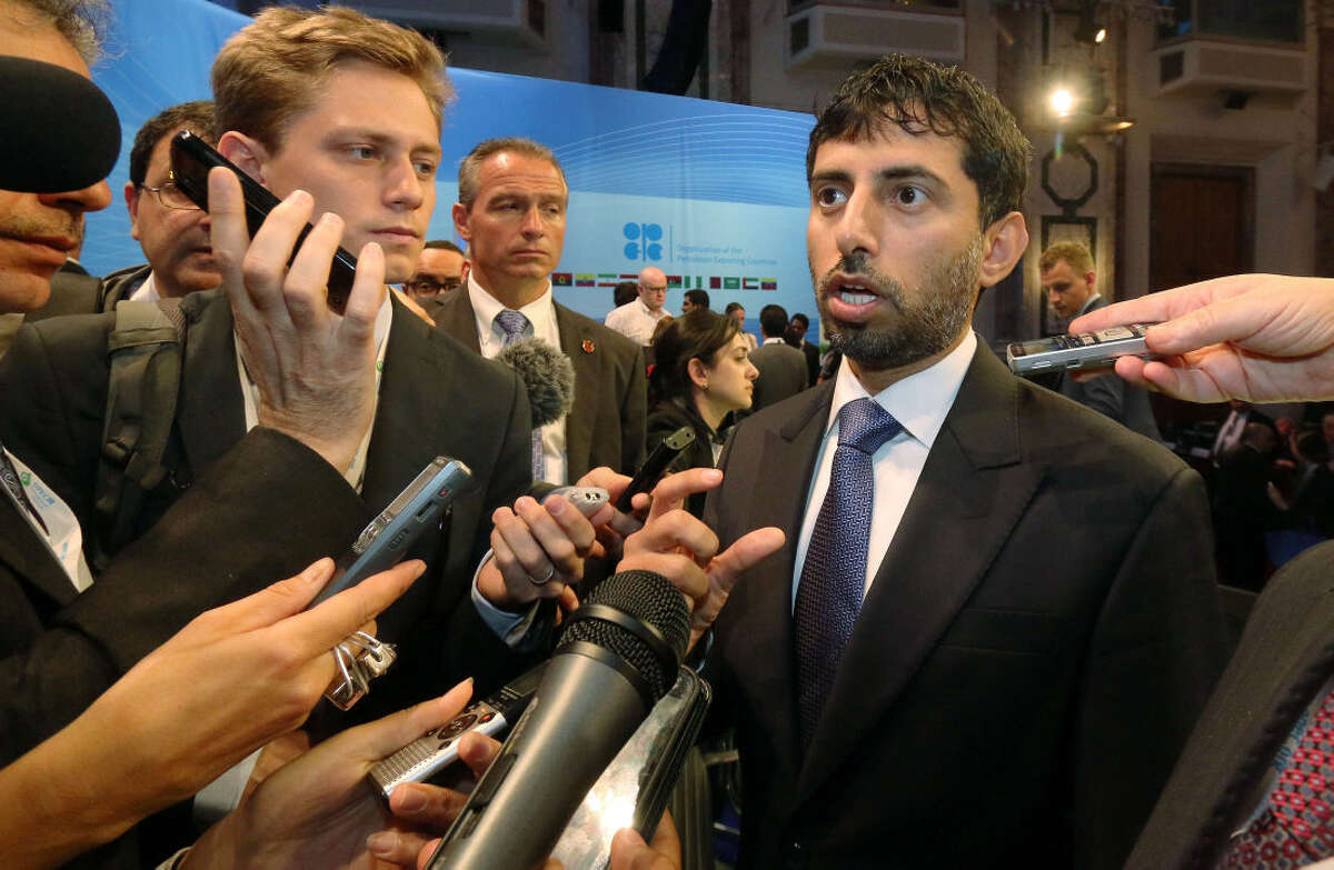 Suhail Mohamed Al Mazrouei, Minister of Energy of the United Arab Emirates, UAE, speaks to journalists during a seminar of the Organization of the Petroleum Exporting Countries, OPEC, at Hofburg palace, in Vienna, Austria, Thursday, June 4, 2015. (AP Photo/Ronald Zak)