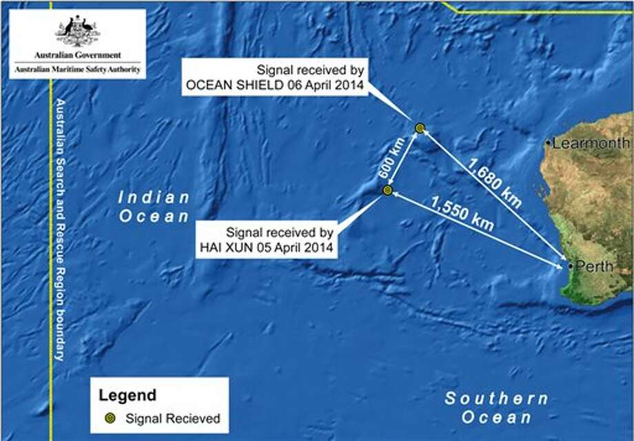 This image provided by the Joint Agency Coordination Centre on Monday, April 7, 2014, shows a map indicating the locations of search vessels looking for signs of the missing Malaysia Airlines Flight 370 in the southern Indian Ocean. An Australian official overseeing the search for the missing Malaysia Airlines plane said underwater sounds picked up by equipment on an Australian navy ship are consistent with transmissions from black box recorders on a plane. (AP Photo/Joint Agency Coordination Centre) EDITORIAL USE ONLY Photo: Uncredited / AP2014