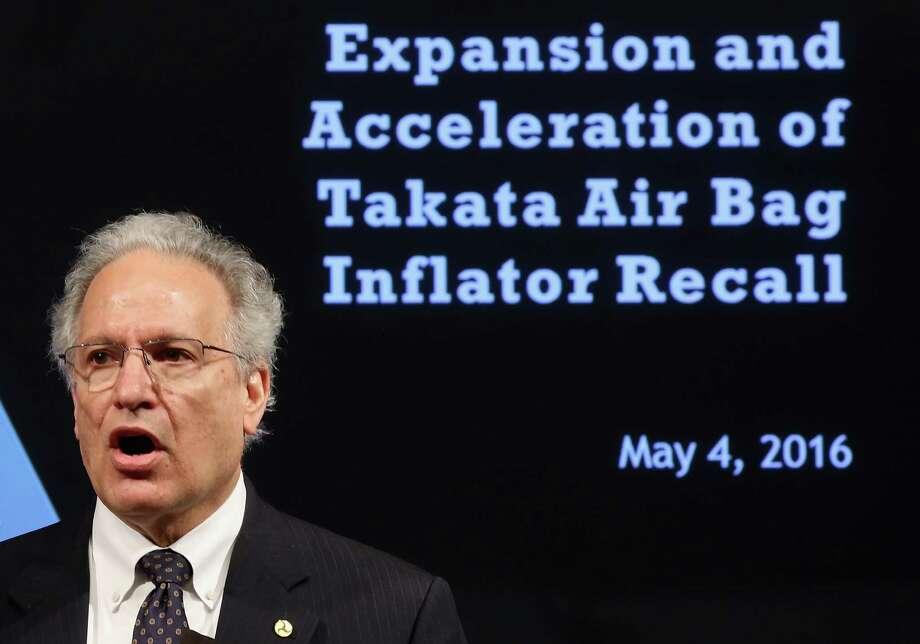 Mark Rosekind, Administrator of the National Highway Traffic Safety Administration, speaks during a news conference on Takata airbags at the Department of Transportation, May 4, 2016 in Washington, DC. Rosekind announced that Takata will expand its recall to at least another 35 million rupture-prone air-bag inflators that U.S. regulators have deemed a safety risk. Photo: Mark Wilson /Getty Images / 2016 Getty Images