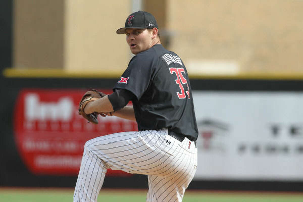 Texas Tech junior right-handed pitcher Matt Withrow is shown here getting ready to throw a pitch this season for the Red Raiders. The Midland Christian grad was taken in the sixth round (180 overall) by the Atlanta Braves in Tuesday's Major League Baseball First-Year Player Draft. Photo courtesy of Texas Tech athletics.