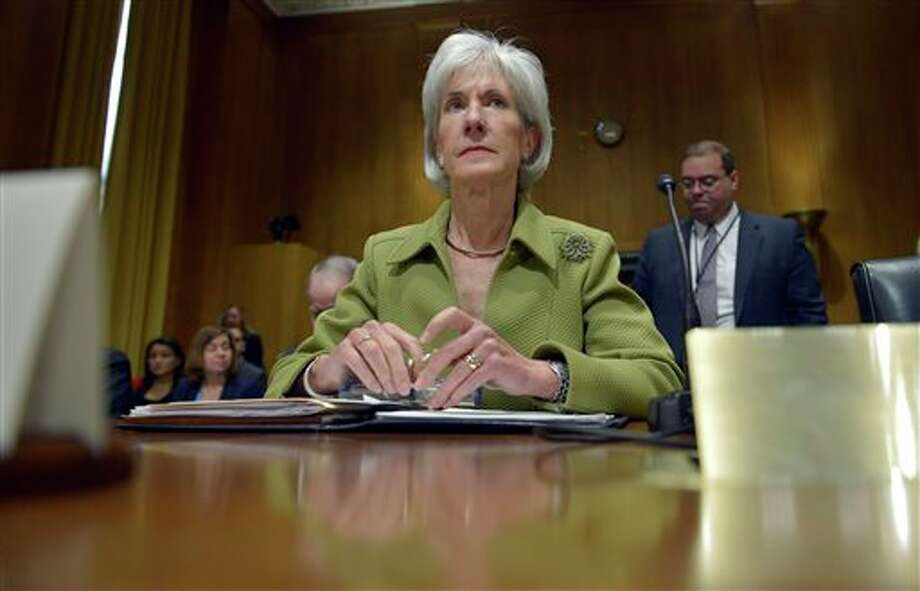 Health and Human Services Secretary Kathleen Sebelius listens on Capitol Hill in Washington, Thursday, April 10, 2014, during the Senate Finance Committee hearing on the HHS Department's fiscal Year 2015 budget. A White House official says Sebelius is resigning from the Obama administration. The move comes just a week after the close of the rocky enrollment period for President Barack Obama's health care law. (AP Photo/Susan Walsh) Photo: Susan Walsh / AP