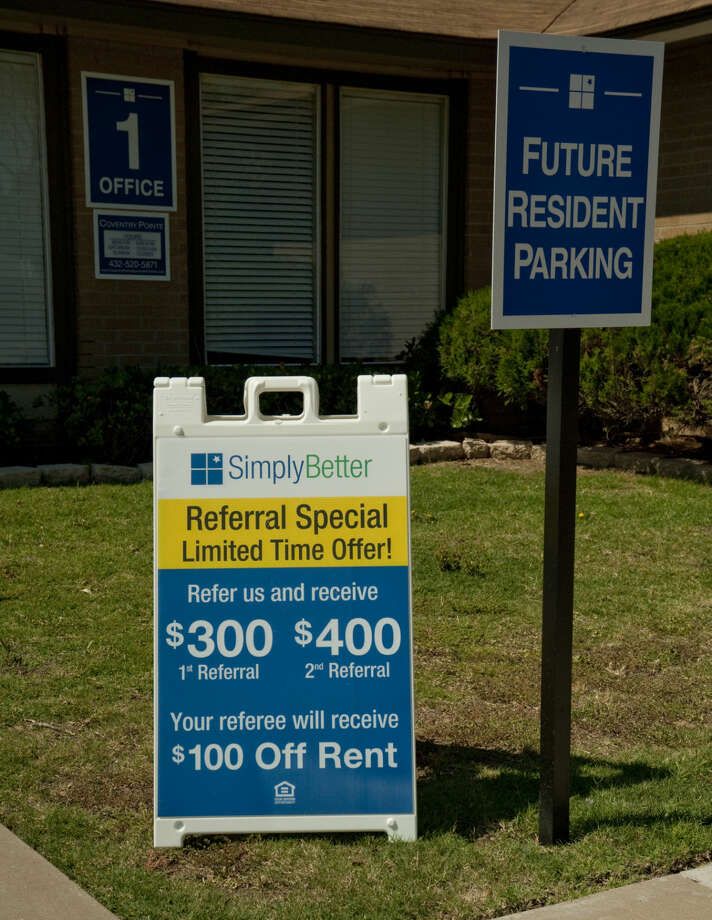 Apartment complexes around town are showing available units Thursday, 6-11-15, with some like Coventry Pointe Apartments off Wadley offering referral discounts to current residents. Tim Fischer\Reporter-Telegram Photo: Tim Fischer