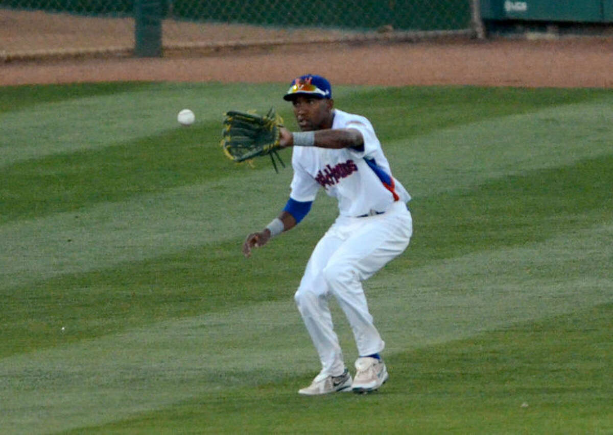 Rockhounds' D'Arby Myers fields the ball during the game against the Arkansas Travelers on Thursday at Security Bank Ballpark. James Durbin/Reporter-Telegram