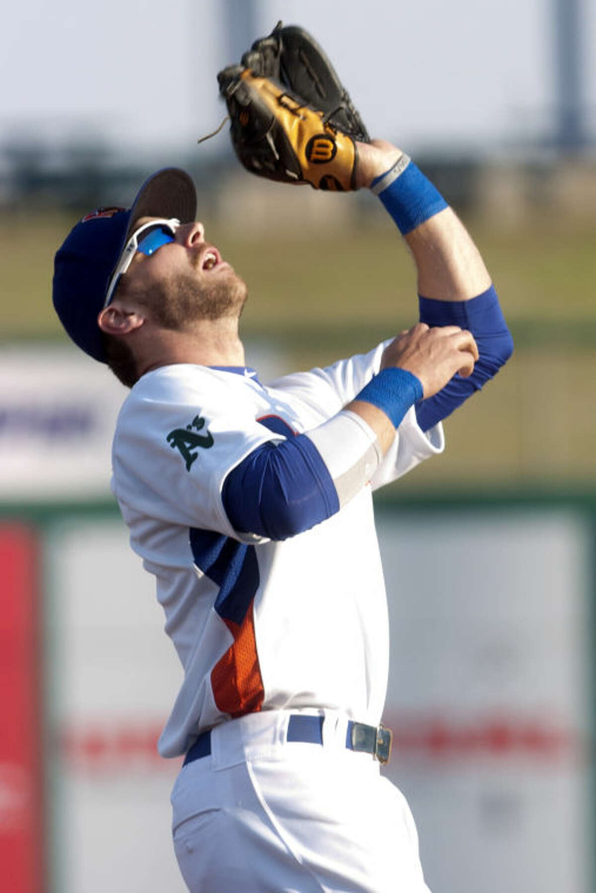 Rockhounds' Colin Walsh makes a catch against the San Antonio Missions on Thursday at Security Bank Ballpark. James Durbin/Reporter-Telegram